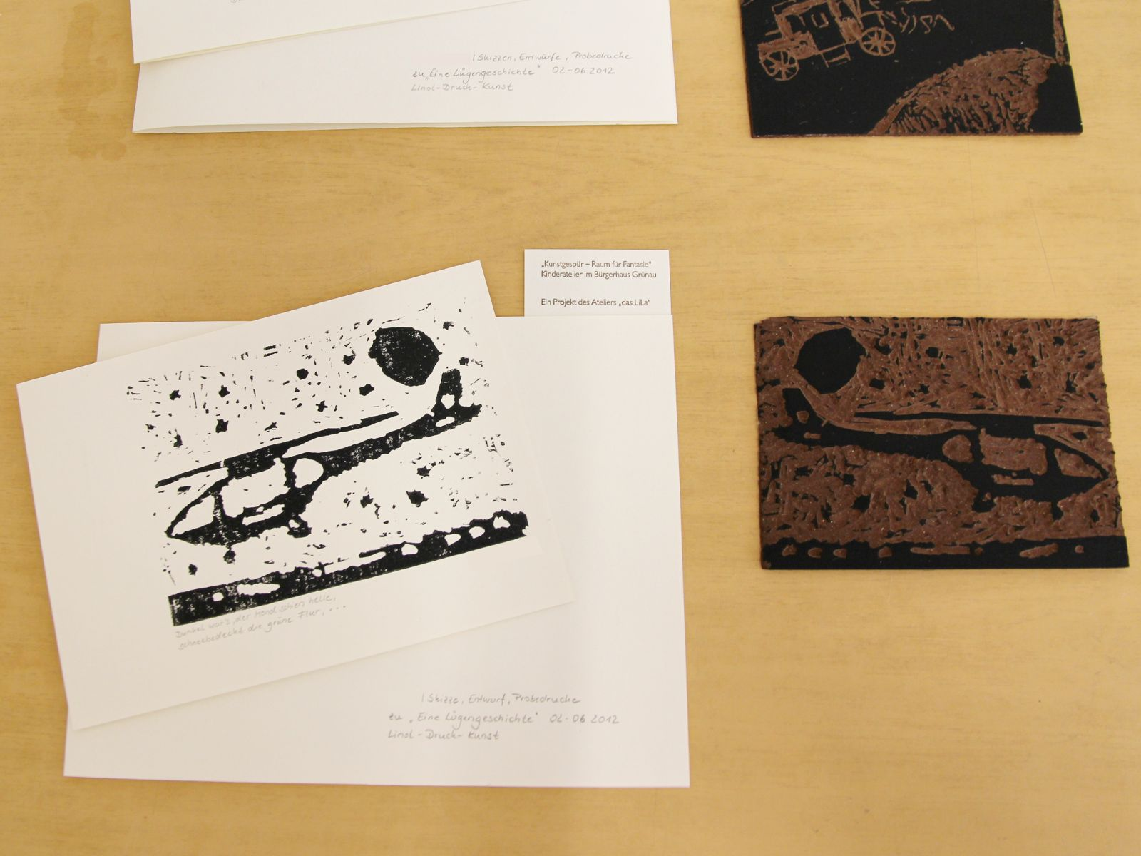 Kunstgespuer Kinderatelier-Ausstellung-Fantasievolle-Druckgrafik-Plastik