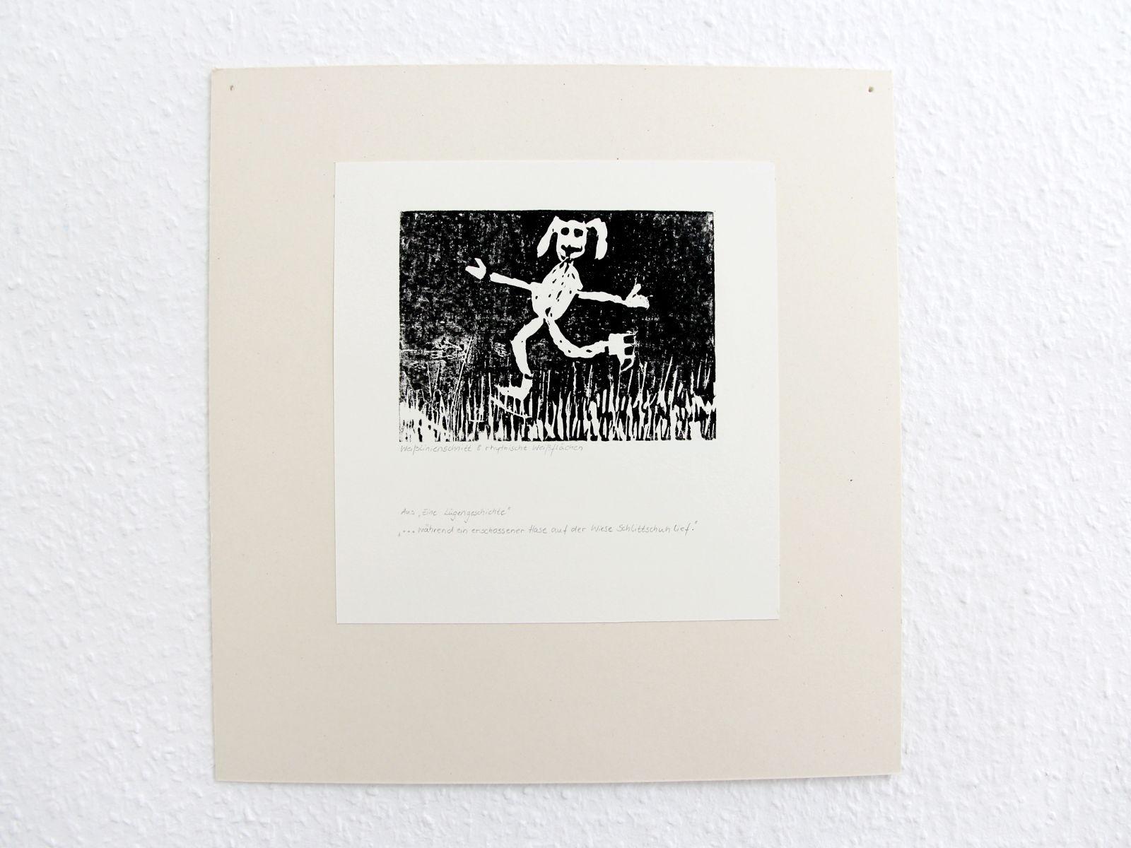 Kunstgespuer Kinderatelier-Ausstellung-Fantasievolle-Druckgrafik-Plastik Luegengeschichte 3