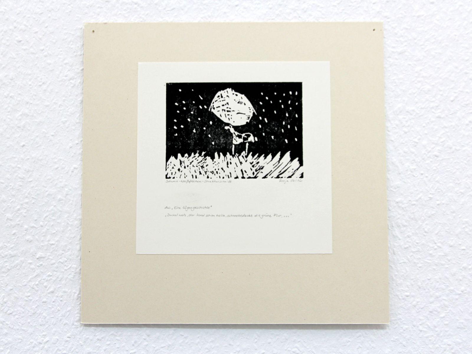 Kunstgespuer Kinderatelier-Ausstellung-Fantasievolle-Druckgrafik-Plastik Luegengeschichte 1