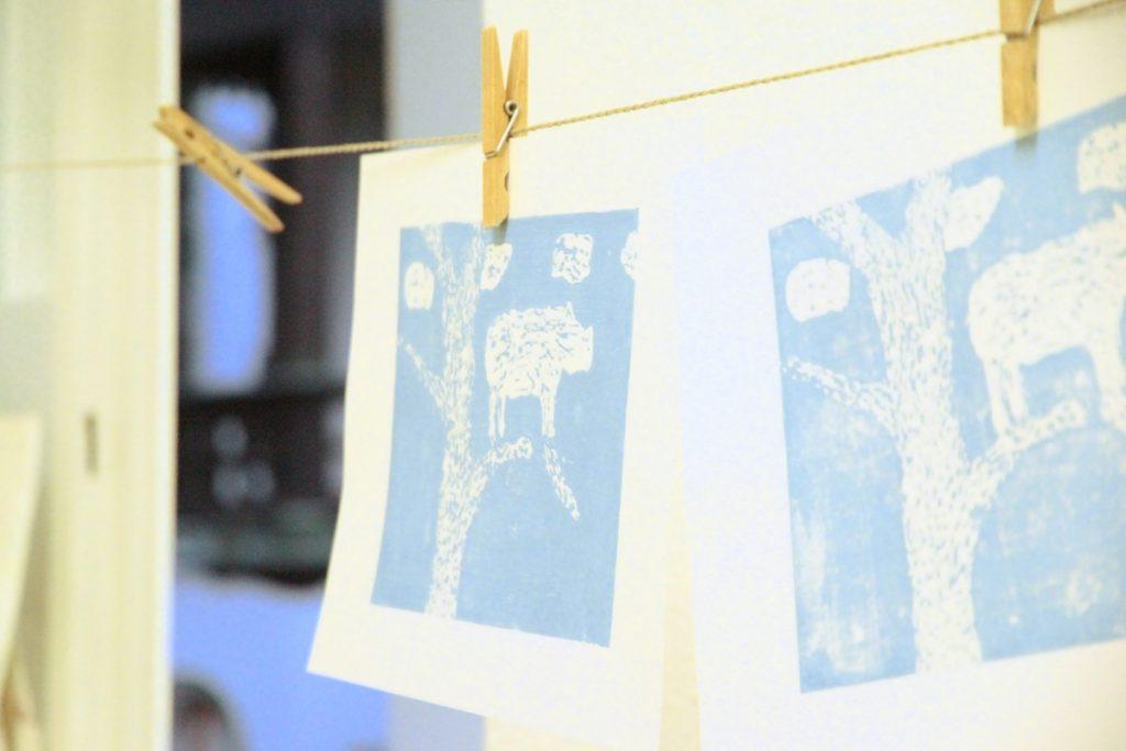 Kinder 6-14 Linoldruck Poesie Druck mehrfarbig Kunstgespuer