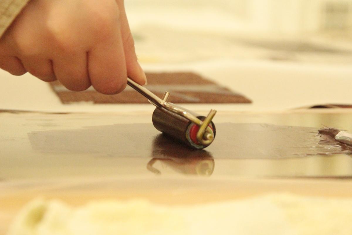Linoldruck Poesie walzen mehrfarbig Kunstgespuer
