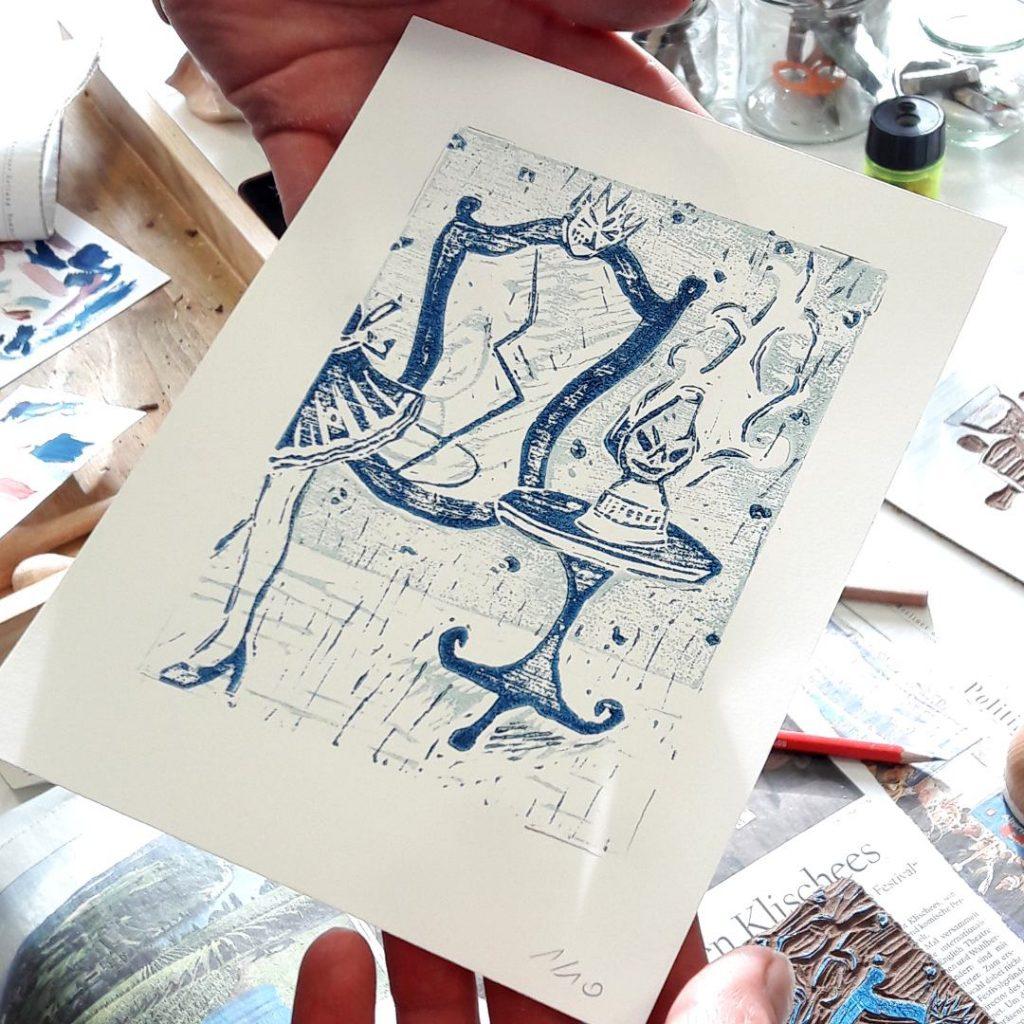 Mut haben Atelierkurse Berlin-Grünau Erwachsene Kunstgespür Linoldruck Drucktechnik
